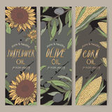 Three color sunflower, olive, corn oil labels on black. Stock Image