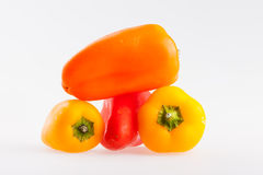 Three color sweet peppers Royalty Free Stock Photography