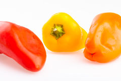 Three color sweet peppers Royalty Free Stock Photos