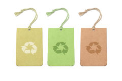 Three color tags with recycling symbols. Arranged on white background Stock Photography