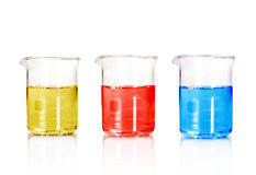 Three color Test-tubes Royalty Free Stock Images