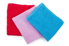 Three color towels Royalty Free Stock Photos