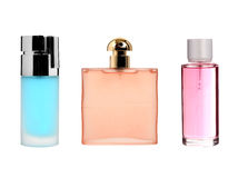 Three color transparent glass perfume bottles Stock Photos