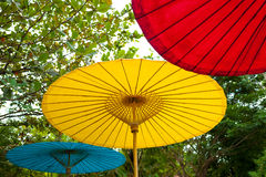 Three color umbrella Stock Photography