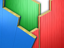 Three color wall panels. Composition of three color wall sandwich panels vector illustration