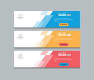 Three color  web banner design template background  set Stock Image