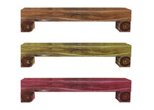 Three color of wooden bench Royalty Free Stock Photo