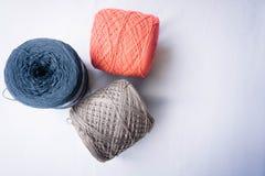Three color of yarn royalty free stock photo
