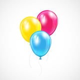 Three colored balloons. Three flying colored balloons on white background, illustration Royalty Free Stock Photo