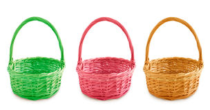 Three colored baskets Royalty Free Stock Images