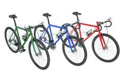 Three colored bicycles closeup Royalty Free Stock Images