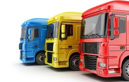 Three colored big truck Stock Photography