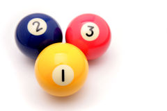 Three colored billiard balls. The 1, 2 and 3 balls from a pool or billiards table stock photography