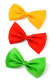 Three colored bow ties isolated on white Royalty Free Stock Photos