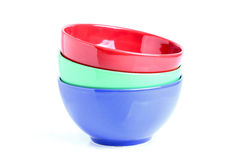 Three colored bowls. Stock Photo