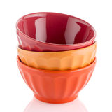 Three colored bowls Royalty Free Stock Photography