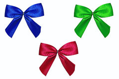 Three colored Bows Isolated on White Royalty Free Stock Photo