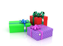 Three colored boxes for gifts Stock Photo