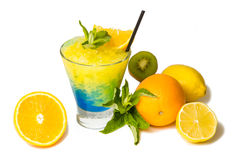Three colored bright cocktail. With mint and lemon on the wooden bar counter Stock Photos