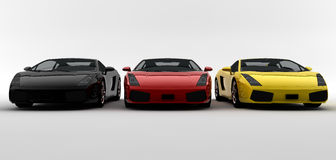 Three colored cars Royalty Free Stock Photography