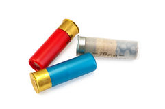 Three colored cartridges for shotguns Stock Photo