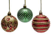 Three colored Christmas balls. Royalty Free Stock Image