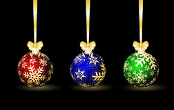 Three colored Christmas spheres Royalty Free Stock Images