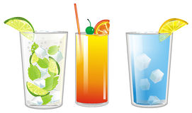 Three colored cocktails Royalty Free Stock Photography