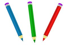 Three colored crayons - red, blue, green stock photos