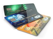 Three colored credit cards isolated on white background, Royalty Free Stock Images