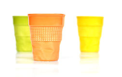 Three colored cups Stock Photo