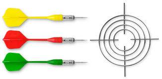Three colored dart Royalty Free Stock Photos