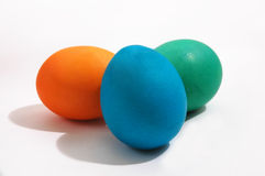 Three colored Easter eggs Stock Photos