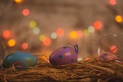 Three colored easter eggs on bed of straw royalty free stock image