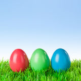 Three colored easter eggs Stock Photography