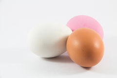 Three Colored Eggs for cooking. royalty free stock image