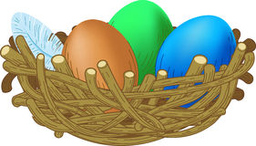 Three colored eggs lie in a nest Easter illustrati. On Royalty Free Stock Photography