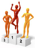 Three colored figures, men standing on a winners podium cheering, reacting to their place Stock Images