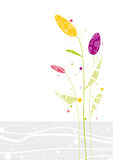 Three colored flowers. Illustration of tender colored spring flowers on white and grey background with sample shapes and lines. Can be used as background or Stock Photo