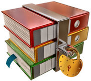 Three colored folders with hinged lock Royalty Free Stock Photos