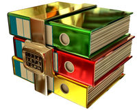 Three Colored Folders With Electronic Lock Royalty Free Stock Images