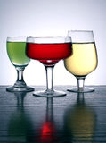 Three colored glass. Three glass in different colors Royalty Free Stock Image
