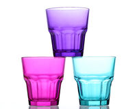 Three colored glasses like pyramide Royalty Free Stock Photography