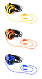 Three colored head phones Stock Photography