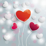 Three Colored Hearts Valentines Sunlight Royalty Free Stock Photos