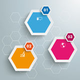 Three Colored Hexagons Hexagon Background PiAd. Infographic with honeycomb structure on the grey background. Eps 10  file Royalty Free Stock Photography