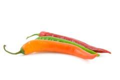 Three colored hot pepper Stock Photo