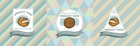 Three colored labels with illustration of buns and bread. Stock illustration stock illustration