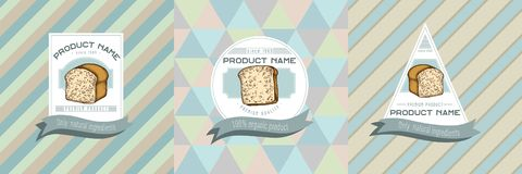 Three colored labels with illustration of croissants and bread. Stock illustration royalty free illustration