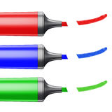 Three colored markers depicting a line on a white background. Stock Image